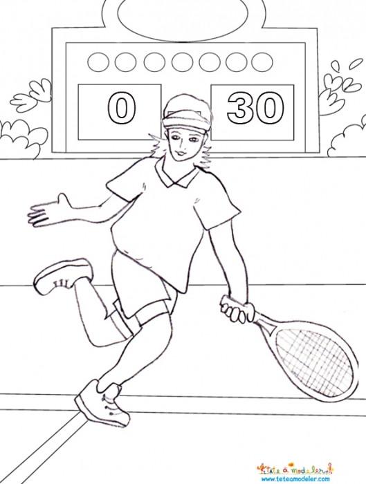 Coloriage et dessins gratuits Le Match de Tennis au crayon à imprimer