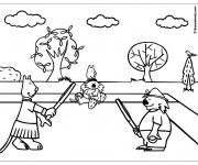 Coloriage et dessins gratuit Les Animaux et Le Match de Tennis à imprimer
