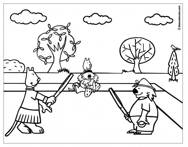Coloriage et dessins gratuits Les Animaux et Le Match de Tennis à imprimer