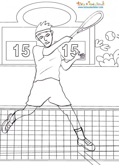 Coloriage et dessins gratuits Match de Tennis à imprimer