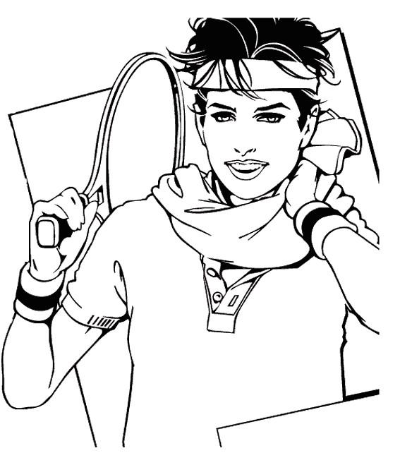 Coloriage et dessins gratuits Portrait d'un Joueur de Tennis à imprimer