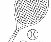Coloriage et dessins gratuit Raquette et 3 balles de tennis à imprimer