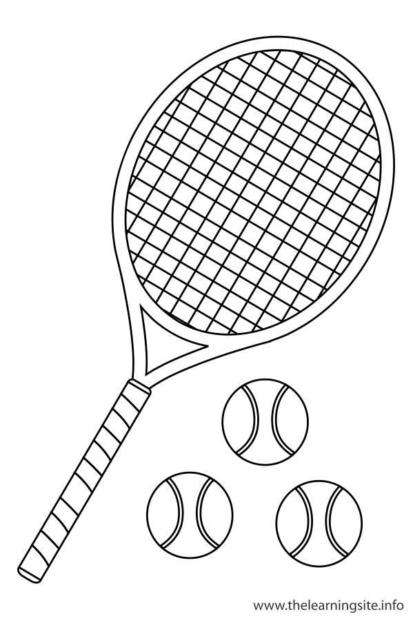 Coloriage et dessins gratuits Raquette et 3 balles de tennis à imprimer