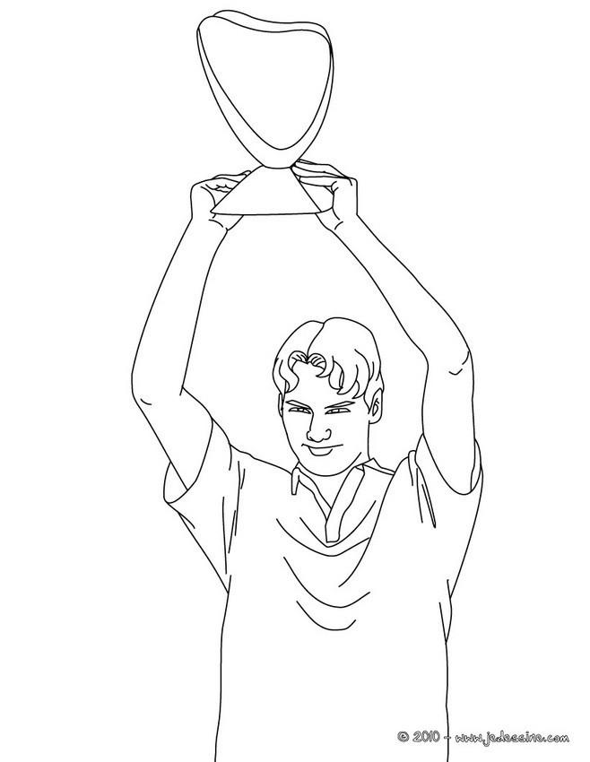 Coloriage et dessins gratuits Roger Federer prend Le Trophée à imprimer