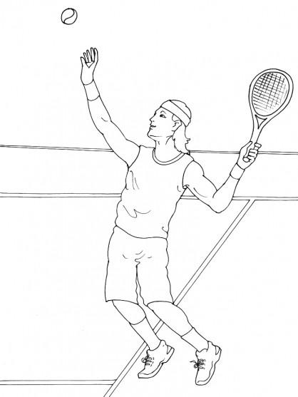 Coloriage et dessins gratuits Service de Tennis à imprimer