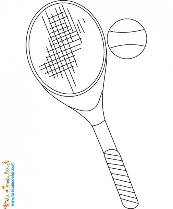 Coloriage et dessins gratuits Tennis Balle et Raquette à imprimer