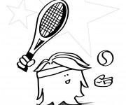 Coloriage Tennis humour