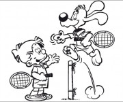 Coloriage et dessins gratuit Un Match de Tennis entre L'enfant et Le Chien à imprimer