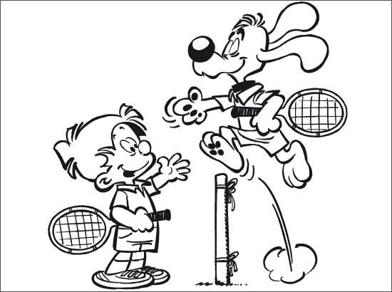Coloriage et dessins gratuits Un Match de Tennis entre L'enfant et Le Chien à imprimer