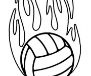 Coloriage Ballon de Volleyball en feu