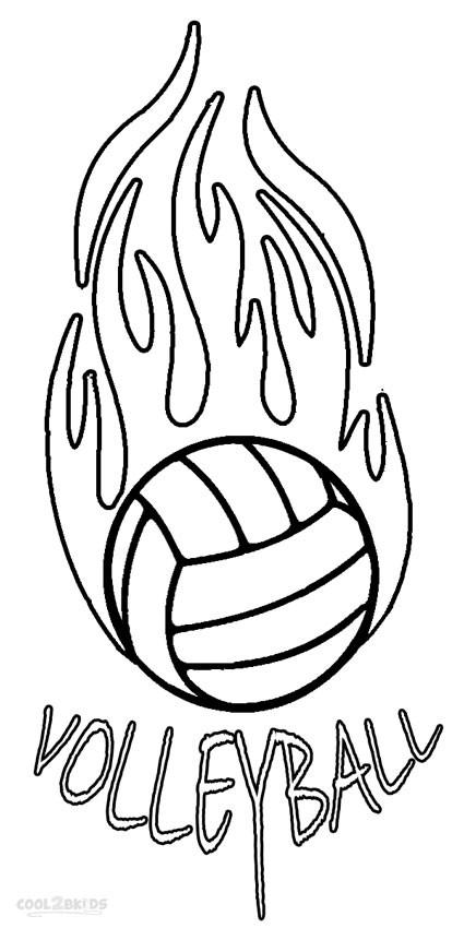 Coloriage et dessins gratuits Ballon de Volleyball en feu à imprimer