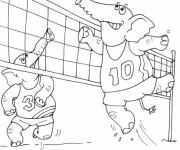 Coloriage et dessins gratuit Éléphants qui jouent le Volleyball à imprimer