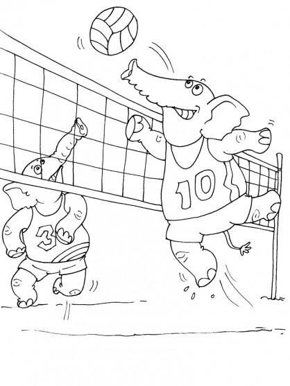 Coloriage et dessins gratuits Éléphants qui jouent le Volleyball à imprimer