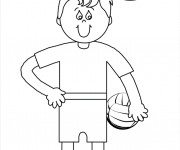 Coloriage Fille et Ballon Volleyball