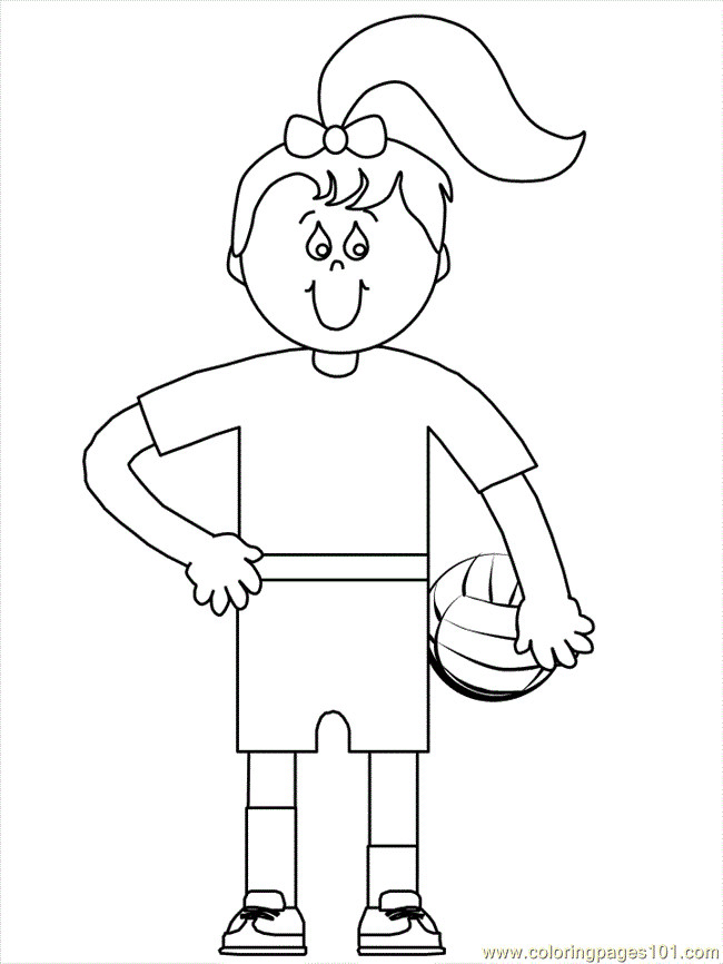 Coloriage et dessins gratuits Fille et Ballon Volleyball à imprimer