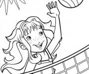 Coloriage et dessins gratuit Fille joue au Volleyball sous le soleil à imprimer