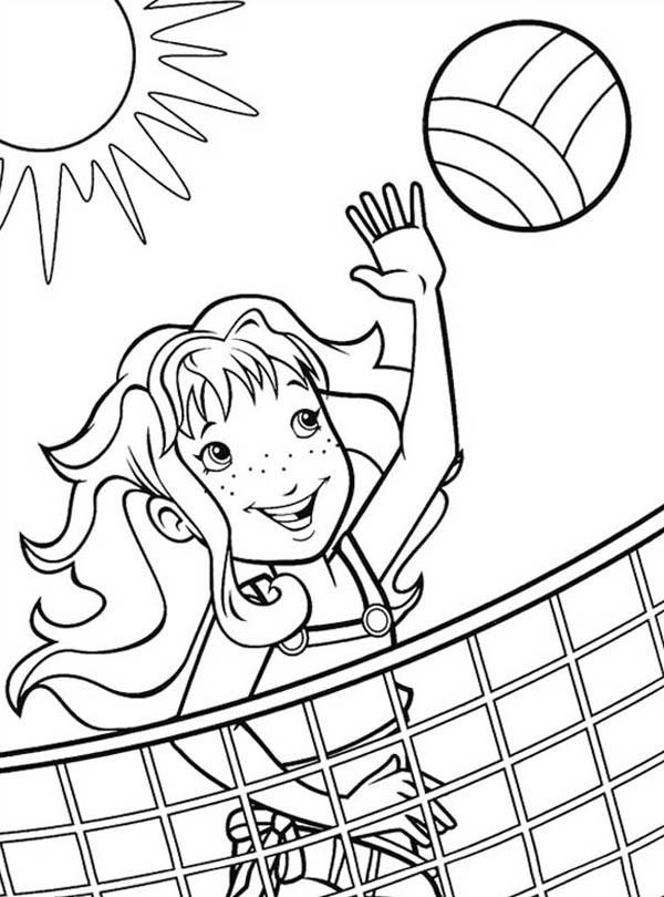 Coloriage et dessins gratuits Fille joue au Volleyball sous le soleil à imprimer