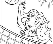 Coloriage et dessins gratuit Fille joue le Volleyball sur la plage à imprimer