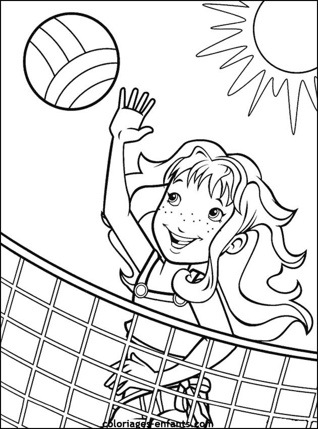 Coloriage et dessins gratuits Fille joue le Volleyball sur la plage à imprimer