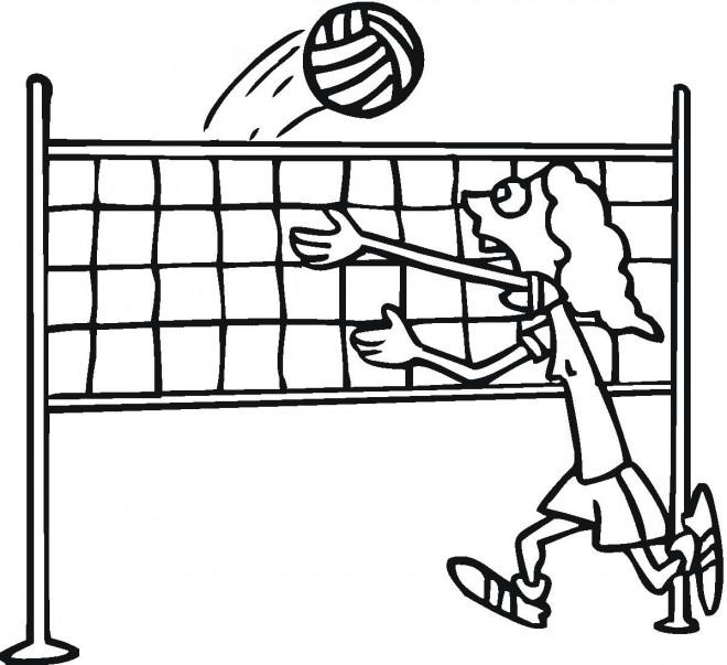 Coloriage et dessins gratuits Joueur de Volleyball drôle à imprimer