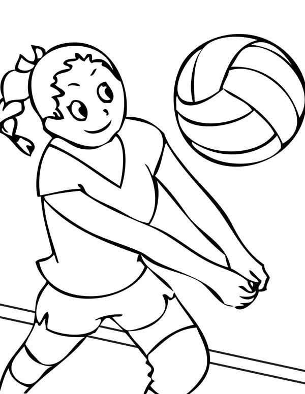 Coloriage et dessins gratuits Joueur reçoit le ballon Volleyball à imprimer