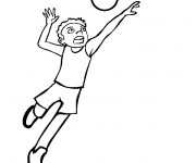 Coloriage Joueur tire le ballon de Volleyball