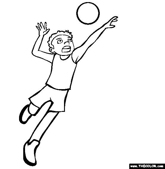 Coloriage et dessins gratuits Joueur tire le ballon de Volleyball à imprimer