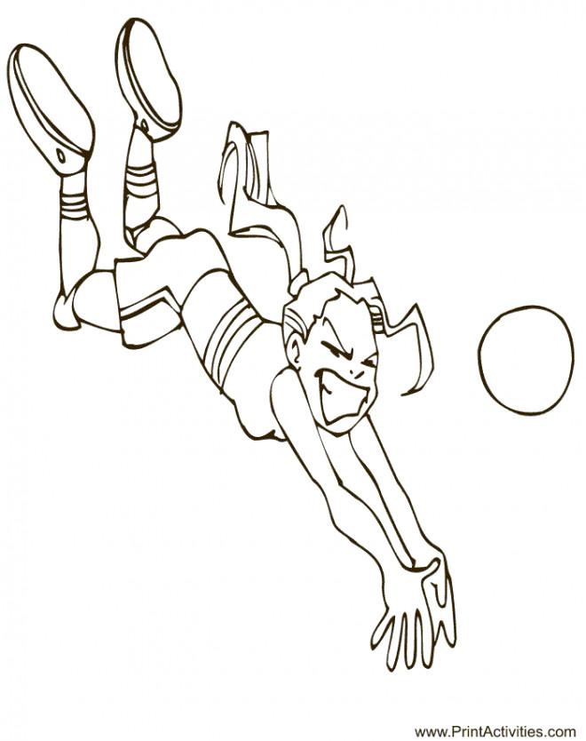 Coloriage et dessins gratuits Joueur Volleyball attrape le ballon à imprimer