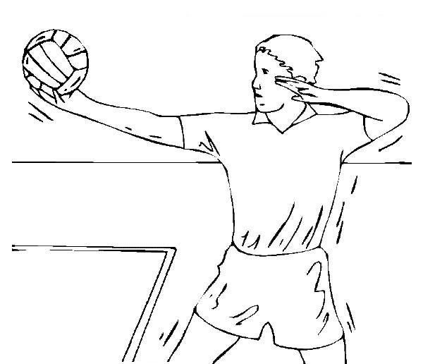 Coloriage et dessins gratuits Joueur Volleyball lance Le Ballon à imprimer