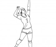 Coloriage La fille fait le Service Volleyball