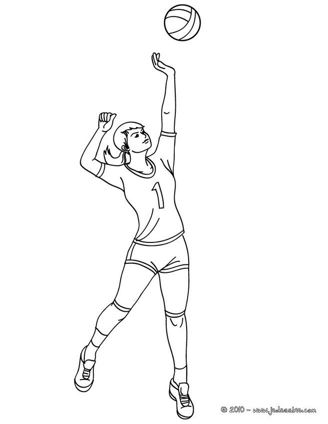 Coloriage et dessins gratuits La fille fait le Service Volleyball à imprimer