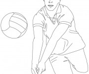 Coloriage Manchette de ballon Volleyball stylisé