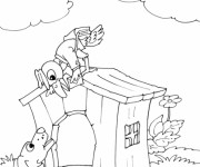 Coloriage et dessins gratuit Un oiseau facteur passe une lettre à un chien à imprimer