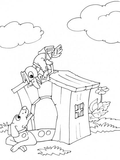 Coloriage et dessins gratuits Un oiseau facteur passe une lettre à un chien à imprimer