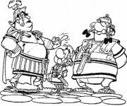 Coloriage Astérix entre deux Romains