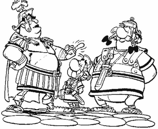 Coloriage et dessins gratuits Astérix entre deux Romains à imprimer