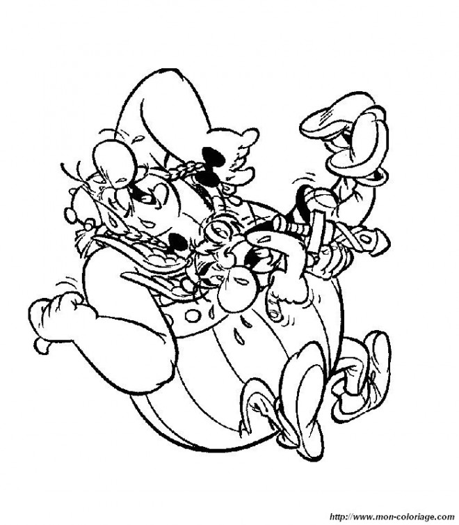 Coloriage et dessins gratuits Astérix et Obélix rigolos à imprimer