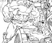 Coloriage Avengers Hulk démolit  Une Voiture