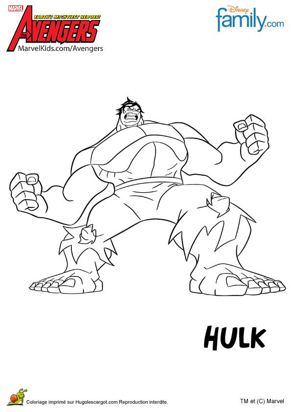 Coloriage et dessins gratuits Avengers Hulk Disney à imprimer
