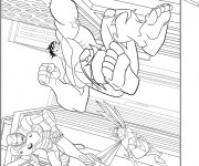Coloriage et dessins gratuit Avengers Hulk en sautant à imprimer