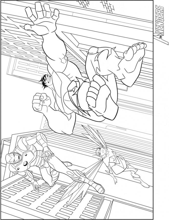 Coloriage et dessins gratuits Avengers Hulk en sautant à imprimer