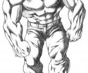 Coloriage Personnage  Hulk en noir et blanc
