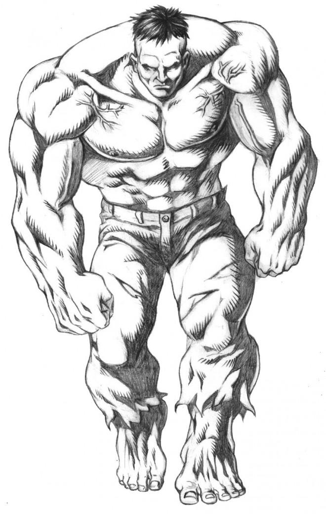 Coloriage et dessins gratuits Personnage  Hulk en noir et blanc à imprimer