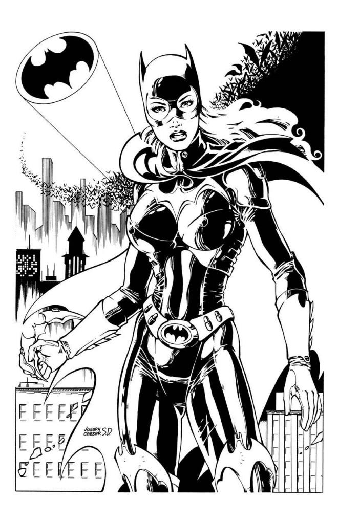Coloriage et dessins gratuits Batgirl en noir et blanc à imprimer