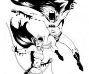Coloriage Batgirl et Batman