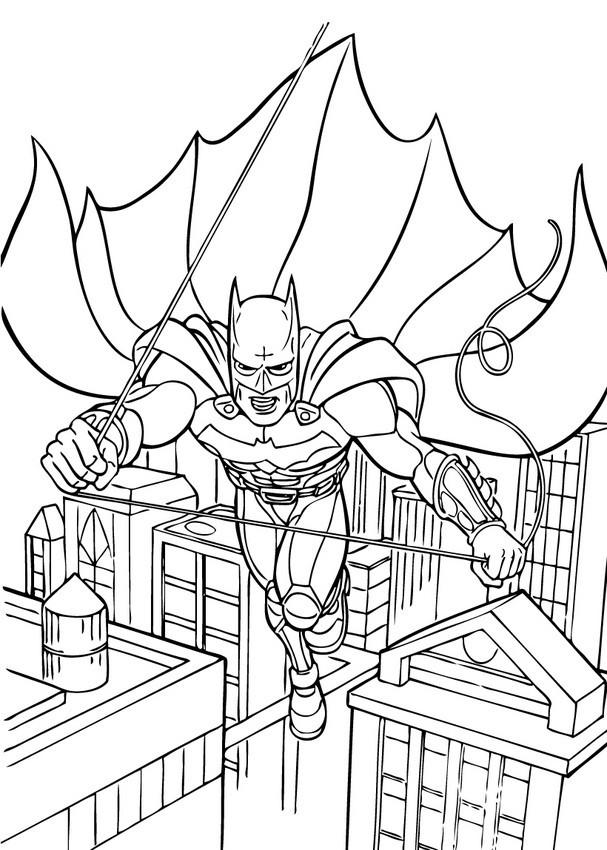 Coloriage et dessins gratuits Batman en L'air à imprimer