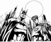 Coloriage et dessins gratuit Batman et Robin à imprimer