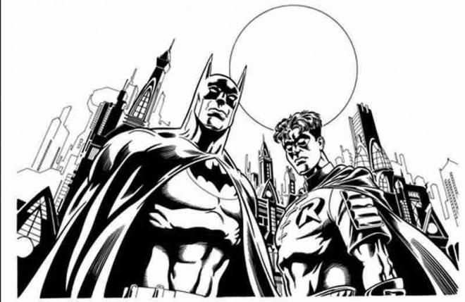 Coloriage et dessins gratuits Batman et Robin à imprimer