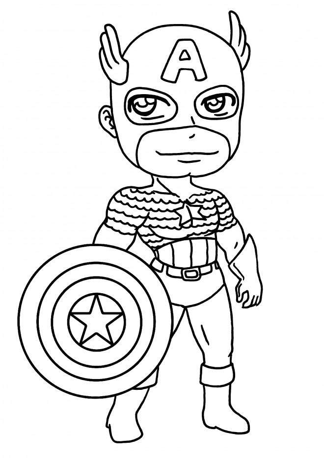 Coloriage Captain America Kawaii Dessin Gratuit à Imprimer