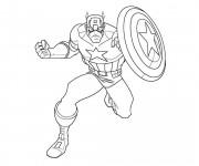 Coloriage et dessins gratuit Captain America Avengers à imprimer